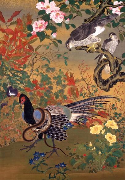 Birds and Flowers (Kacho-zu, 花鳥図) / Kawanabe Kyōsai (Japanese Artist, 1831–1889)
