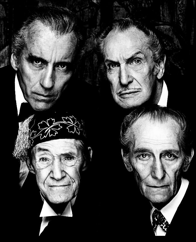 Christopher Lee, Vincent Price, John Carradine & Peter Cushing