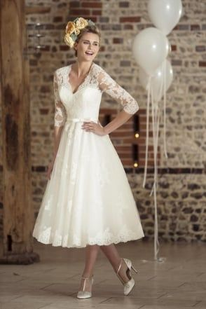 ROSIE Tea Length Vintage 1950s 60s Short Wedding Dress With Sleeves