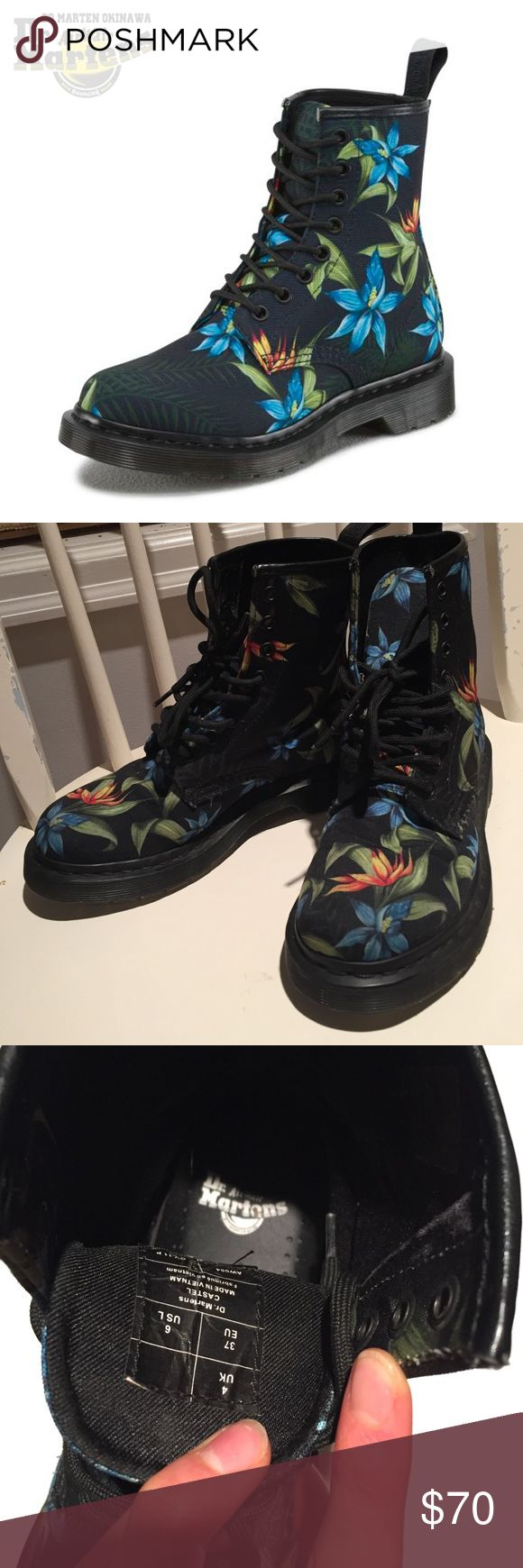 Floral Hawaiian Doc Martens Canvas, in great condition, barely any wear. Super cute and comfortable! Dr. Martens Shoes Combat & Moto Boots