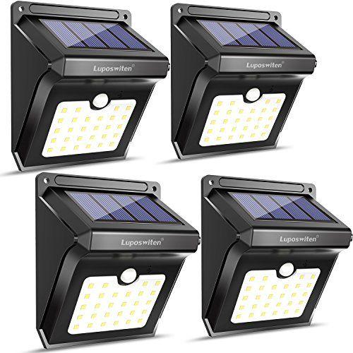 Lampe Solaire 28 Ledluposwiten Etanche Eclairage Exterieur Avec