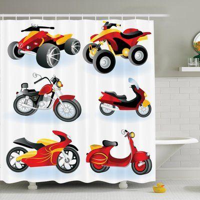 "Ambesonne Cartoon Motorcycle Icon Hippie Shower Curtain Set Size: 84"" H x 69"" W x 1"" D"