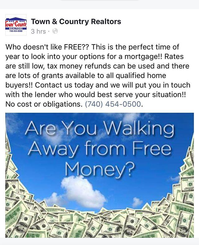 Check this out! Call Town and Country Realtors  #lowdownpayment #zerodown #freemoney #free #buyahome #banking #bank #loans #realestate #home #cash #realtor #realtorlife #zanesville #ohio #centralohio #buyingmadeeasy @glassbrent #localrealtors - posted by Town & Country Realtors https://www.instagram.com/realtorstowncountry - See more Real Estate photos from Local Realtors at https://LocalRealtors.com