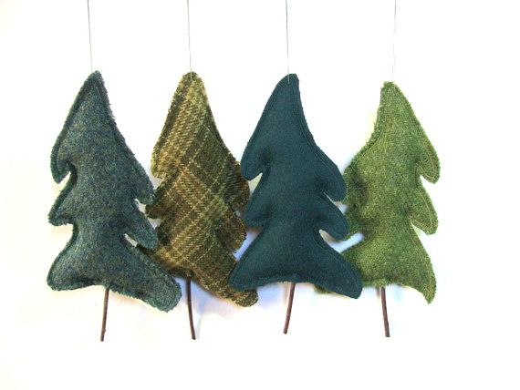 Tree Upcycled Wool Balsam Fir Tree Eco Ornament Botanical Sachet Balsam Scented Earth Day Arbor Day Woodland $5.95