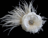 Julia Petite -- With Ostrich Feathers -- Bridal Light Ivory Silk Flower Hair Clip Fascinator with and Rhinestone for Weddings or Prom. $9.50, via Etsy.