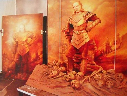 Vigo the Carpathian painting set/prop with Wilhelm von Homburg behind the scenes on #Ghostbusters 2 (1989).