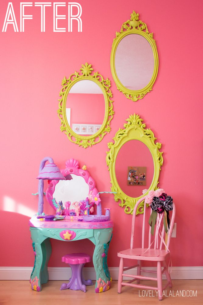 Little Girl's Pink Green and Purple Bedroom Makeover