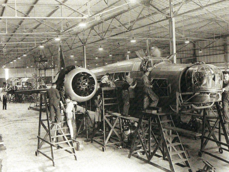 A Wellington Mk I awaiting it's outer wings, but well on the way to completion - RAF - Dambusters