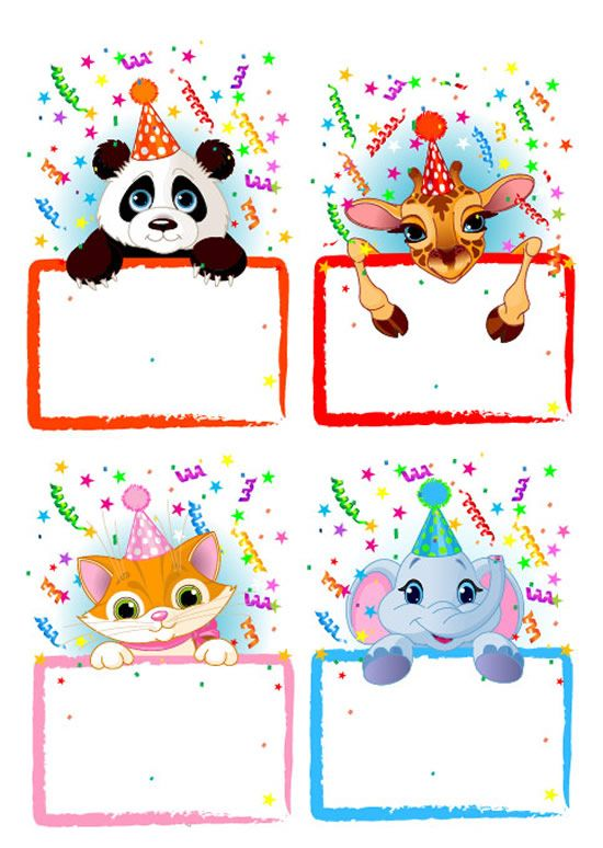 Decorative Borders [4 EPS File] - Card, cat, Decorative [Dekoratif], dekoratif, doğum günü, doğum günü kartı, elephant, eps, eps card, eps file, eps format, FIL, giraffe, happy birthday, kart, kedi, panda, ZURAFA