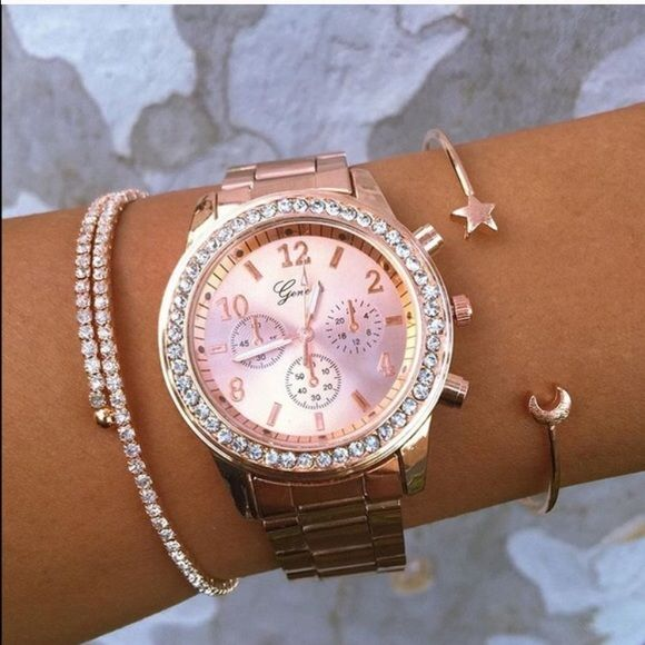 Rose gold watch Fashion women crystal stainless steel watch Accessories Watches