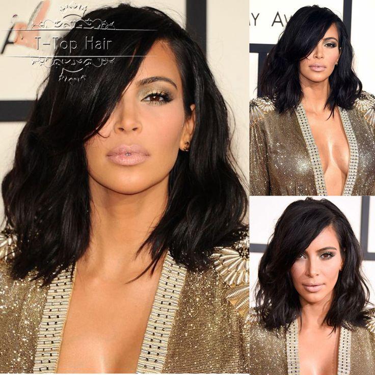 Kim Kardashian Bob Haircut Virgin Brazilian Hair Lace Front Wig short wavy full lace human hair wig for black women