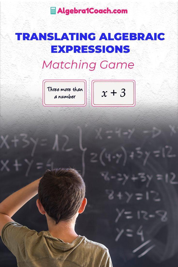 Translating Algebraic Expressions Algebra 1 Coach Translating Algebraic Expressions Algebraic Expressions Math Lesson Plans