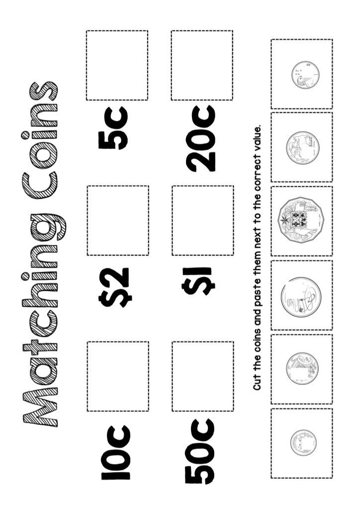 Great matching coin activity for little learners to remind themselves of the value of each of the Australian coins. Students cut each coin and paste it to its correct amount.
