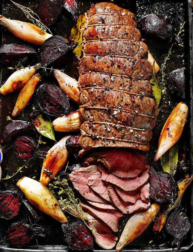 Venison makes an exciting alternative to beef or lamb. This rolled venison haunch joint is accompanied by juicy beetroot, shallots and horseradish.