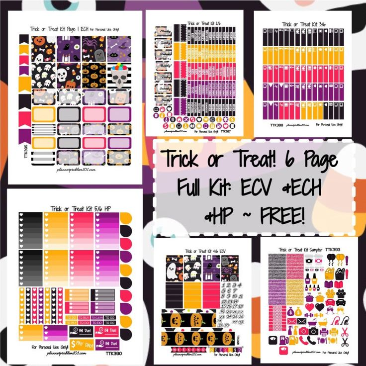 FREE Trick or Treat KIT! | Free Printable Planner Stickers