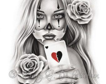 Chicano Tattoo Clown Girl Art Print Glossy Emo by zindyzone