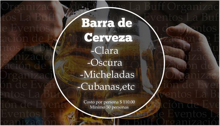 #BarraDeCerveza #BebidasEventos #CDMX #Eventos Lleva a tu evento la mejor Barra de Cervezas en México. Nosotros te ofrecemos el mejor servicio para tus invitados. ORGANIZACIÓN DE EVENTOS La Buff.  Precio: $110 x persona.  Tel: 36 00 52 74 WhatsApp. 55 83 45 07 79 www.eventoslabuff.com