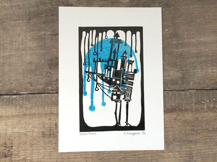 Dream House – Tinyland Linocut,Linoprint,Print,House print,Stars,Letterpress,Card,Printmaking,Blue,Nature