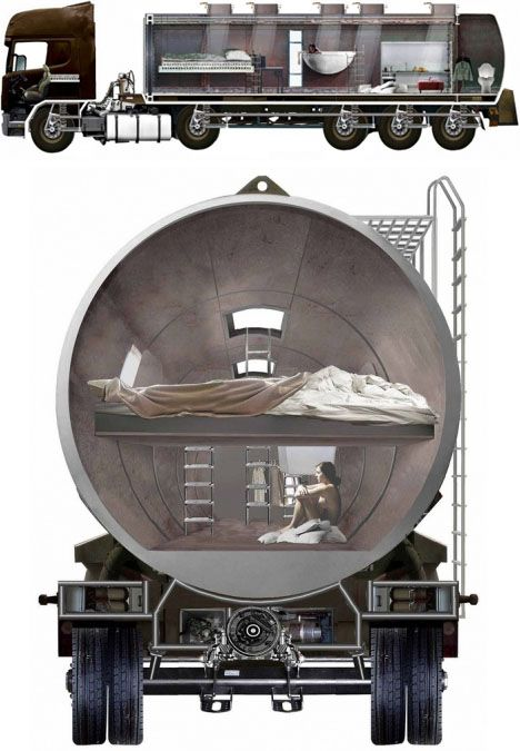 Turning Oil Tanker Trucks Into Homes - http://www.ecosnippets.com/prepping/turning-oil-tanker-trucks-into-homes/