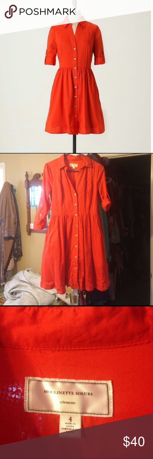 Anthropologie moulinette soeurs red shirt dress 4 So adorable red button down collared shirt dress. Size 4 but runs a little small in the bust. EUC Anthropologie Dresses