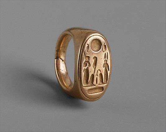 Finger Ring of King Akhenaten and Queen Nefertiti  Period: New Kingdom, Amarna Period Dynasty: Dynasty 18 Reign: reign of Akhenaten Date: ca. 1353–1323 B.C. Geography: Egypt, Middle Egypt, el-Amarna