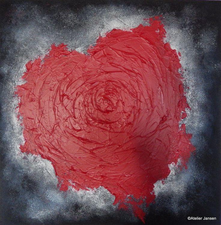 Bloedend hart, schilderij van Deverra Jansen   Abstract   Modern   Kunst