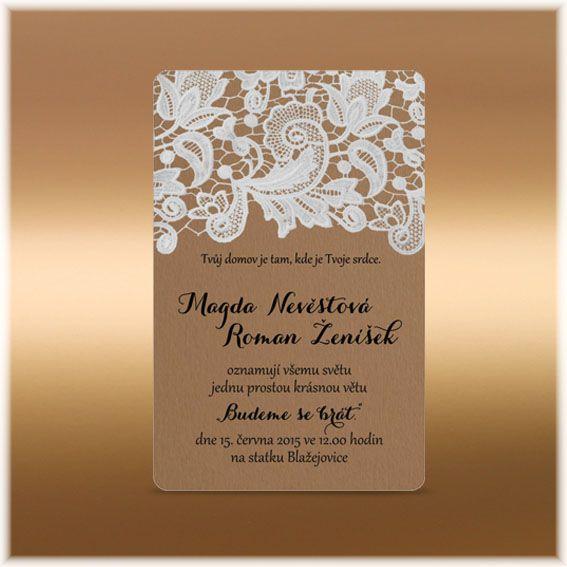 Svatební oznámení s krajkou rustik přírodní selské SK105