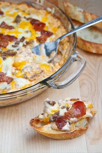 Bacon Double Cheese Burger Dip ~ A hot cheesy baked dip with all of the flavors…