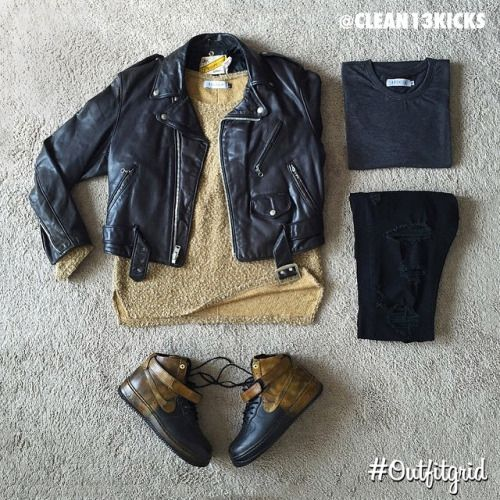 Today's top #outfitgrid is by @clean13kicks. ▫️#Schott #Jacket ▫️#PremiumCo #Overshirt & #Tee ▫️#Levis #DIY #Denim ▫️#Nike x #Pigalle #AF1