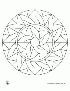 Simple Mandala Coloring Pages for kids.  Free.