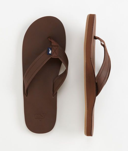 Vineyard Vines offers a full line of flip flops including leather flip flops for men. Our leather flip flops are available in two colors and are extremely comfortable.