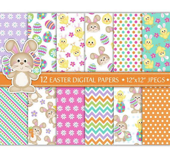 Easter Digital Papers,Easter Bunny Digital Paper,Easter Patterns,Easter Papers,Easter Chick Papers,Backgrounds,Scrapbooking,Commercial Use