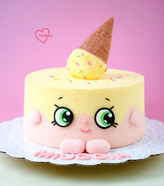 Loving Creations for You: Shopkins Orange-Strawberry yoghurt Chiffon Cake