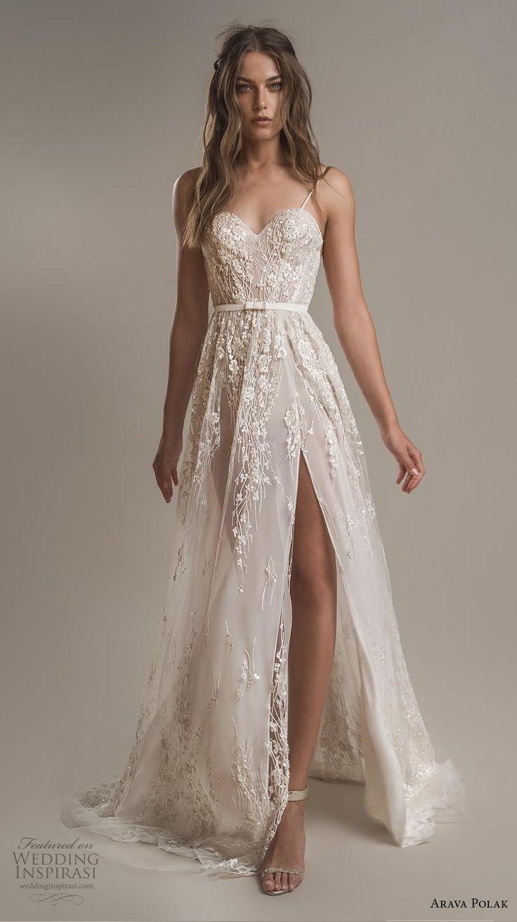 arava polak 2019 bridal sleeveless spaghetti strap sweetheart neckline full embe…