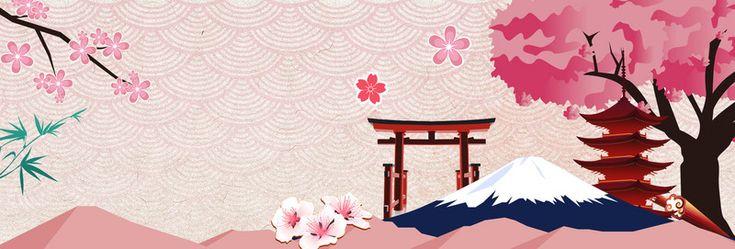Cerisier Rose Fuji le jour de la fête nationale de la saison de bannière, Rose, Sakura, Le Mont Fuji, l'image de fond