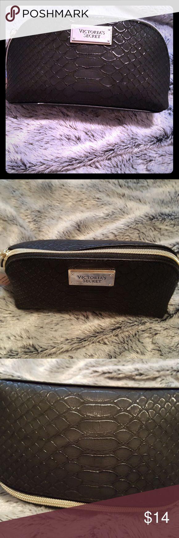 Victoria Secret small cosmetic case!!! Small black python pattern cosmetic bag!!! So cute!!! Victoria's Secret Bags Cosmetic Bags & Cases