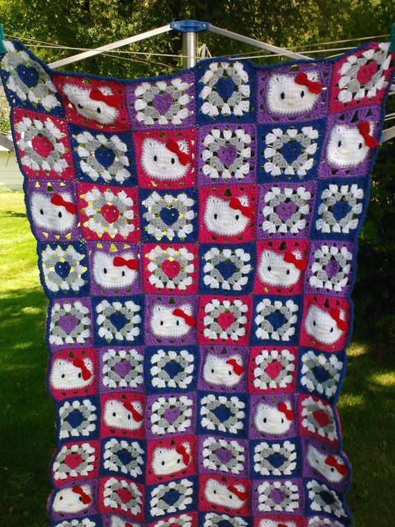 Hello Kitty blanket with heart squares by sweetashoneycreation, $80.00