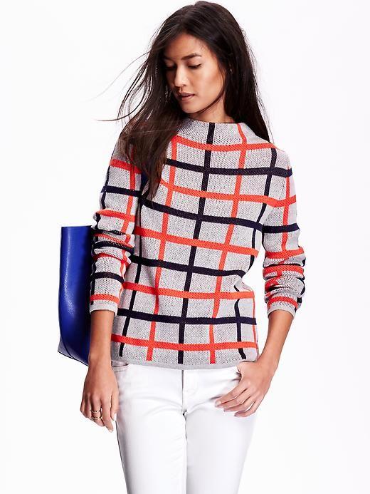 Womens Plaid Mock-Neck Sweater