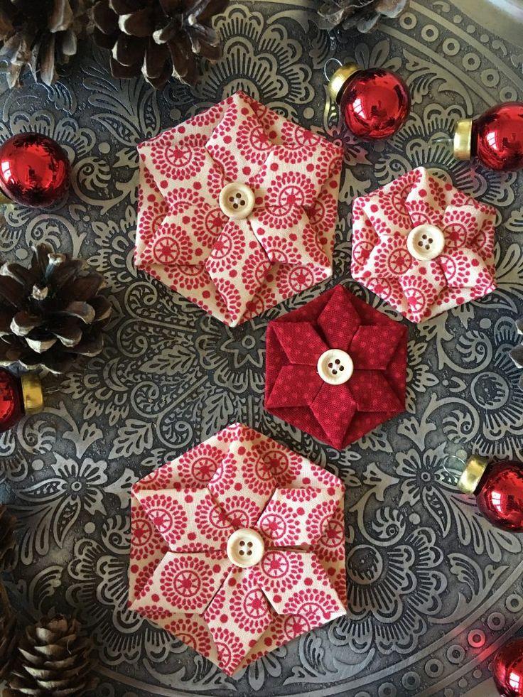 Weihnachtssterne DIY #Patchworkflowers #Tutorial #Sewing #Nähen #Weihnachten #kleinesWeihnachtsgeschenk #DIYWeihnachten #vomsommer