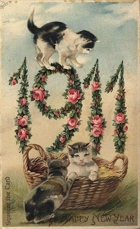 Old New Year Post Card — New Year Date, 1911  (550x900):