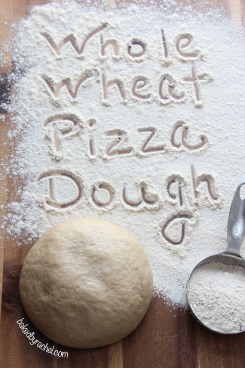 Easy Whole Wheat Pizza Dough Recipe from bakedbyrachel.com - needs full bake time and maybe more - whole wheat dough stays soft.