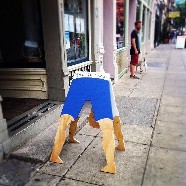You Do Yoga sidewalk sign on Main Street