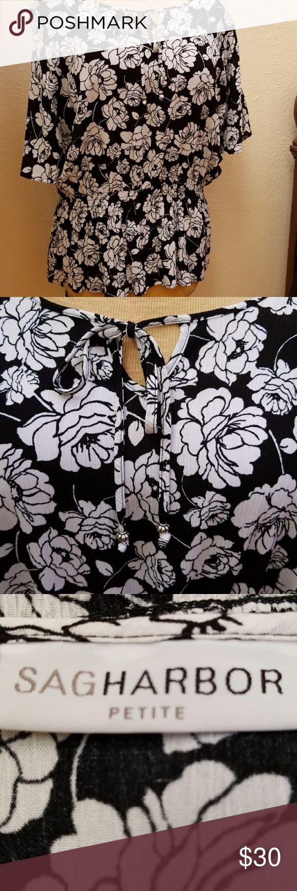SAGHARBOR Blouse/Top, Petite Large SAGHARBOR Blouse/Top. Size PL, black and white flower print, pullover, elastic waist line, ties at neckline in front. SAGHARBOR Tops Blouses