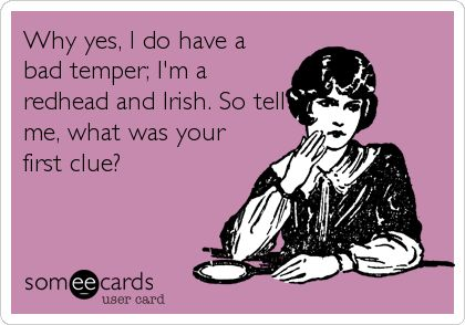 Why yes, I do have a bad temper; I'm a redhead and (my ancestry is predominately) Irish. So tell me, what was your first clue?