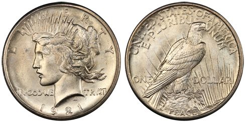 1921 High Relief Peace Dollar www.flowing-hair.cz #mostexpensivecoin #flowinghair2016 #dollar #history #numismatics #coins #collecting #oldcoins #narodnipokladnice #narodnimuzeum