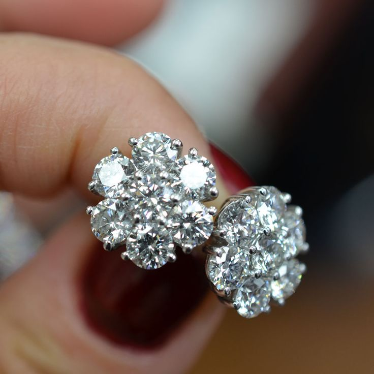 Cluster Diamond Stud Earrings.