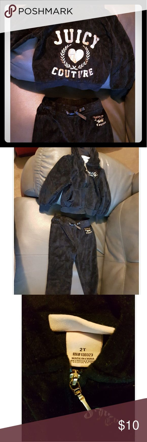 Toddler girls 2T Juicy Couture velour jogging suit Girls toddler 2T Juicy Couture velour jogging suit in good used condition Juicy Couture Matching Sets
