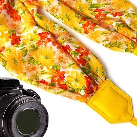 Yellow scarf camera strap. Flowers Camera Strap. Camera accessories. Camera strap for Canon, Nikon, Fuji & other cameras. $42