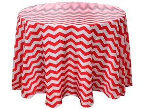 "Red/White Chevron Tablecloth, Size 108"" Round https://www.etsy.com/shop/Zemboor"