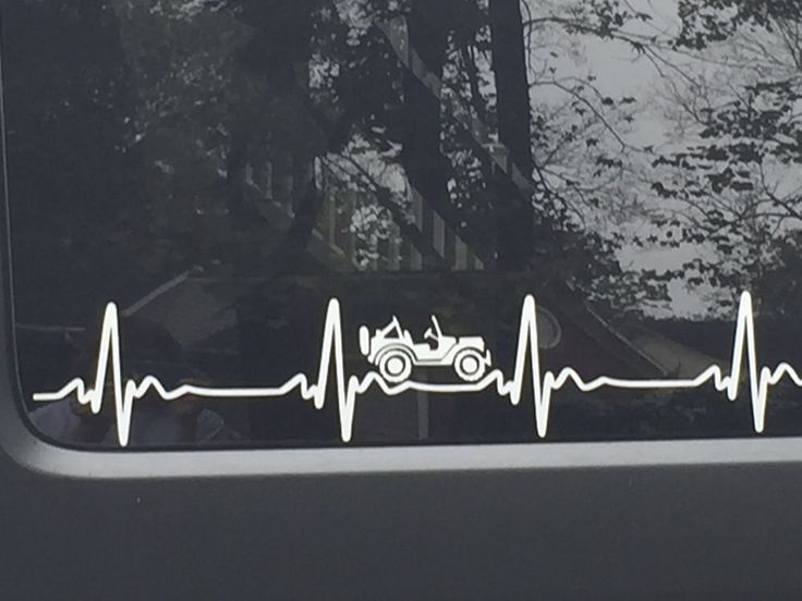JEEP WRANGLER Heart Beat EKG  Pick Your Color STICKER Decal  Heartbeat JK TJ CJ #Jeep
